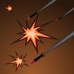 Vector illustration of rocket attack