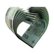 100 PLN Notes in a Heart Shape