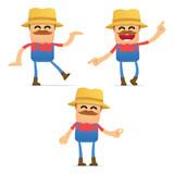 set of funny cartoon farmer