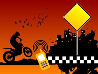 Motocross urban background, vector illustration