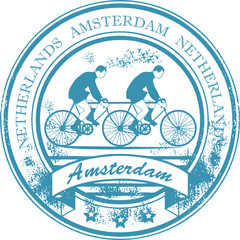 Stamp with bicycle and the words Amsterdam, Netherlands