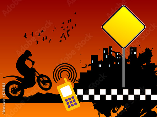Motocross urban background, vector illustration