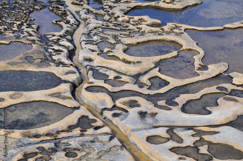 Old salt evaporation ponds, Malta island