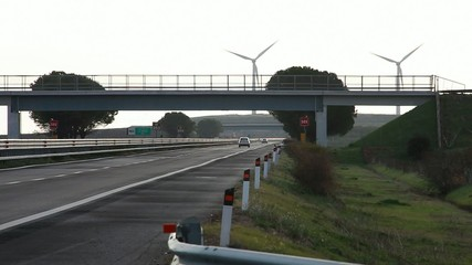 Wind turbine on highway