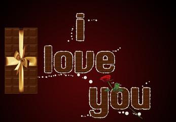 Chocolate text I love you.