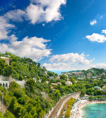 view of luxury resort and bay. french riviera