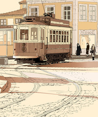 typical tramway  in Porto - Portugal