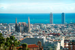 View of Sagrada Familia and port from Park Guell. Barcelona, Spa