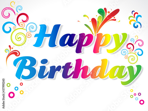 abstract colorful happy birthday card