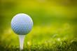 Leinwanddruck Bild - Golf ball on tee