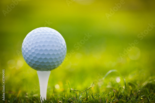 Golf ball on tee - 37990495