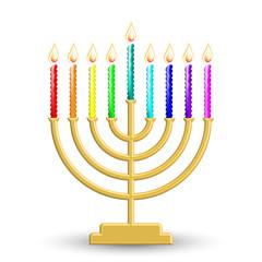Vector illustration of gold Hanukkah lamp