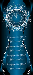 New Year wish Card with clock