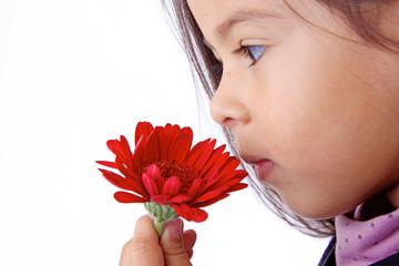 enfant apprend a sentir les odeurs et parfums de fleurs
