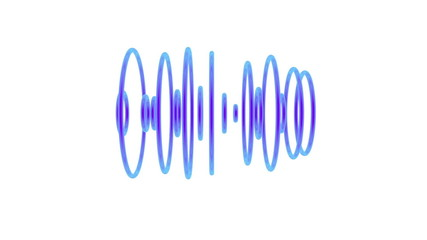 Set of blue pulsating sound waves