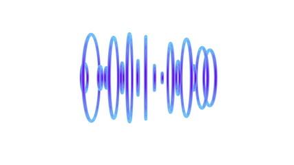 Set of blue pulsating sound waves