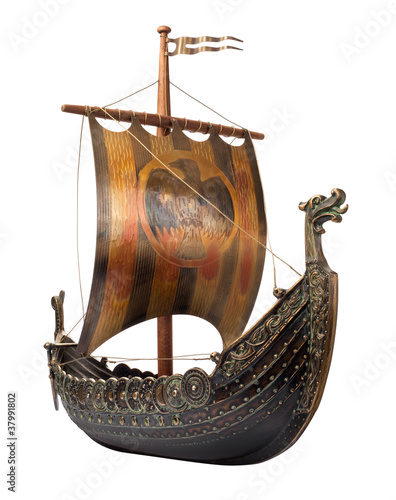 Leinwandbild Motiv Antique Viking Ship isolated on white