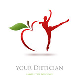 Logo diet, dietician. Dancer and apple # Vector