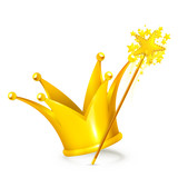 Magic wand and crown
