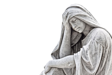 Marble sculpture of a very sad woman isolated on white