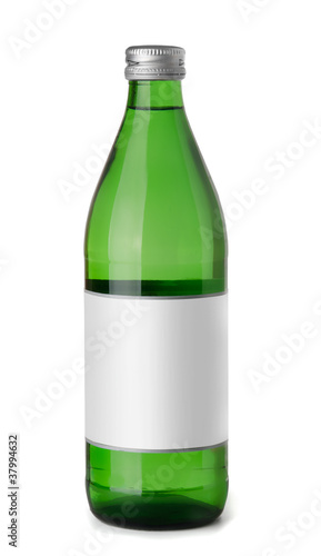 Green glass bottle of  sparkling  water