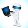 3d Man in Vector with Laptop