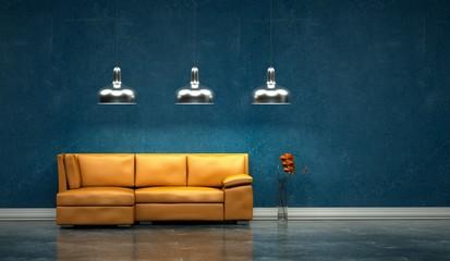 Wohndesign -orangenes Sofa vor blauer Wand 2