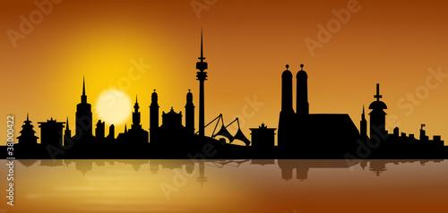 München Skyline Sonnenaufgang
