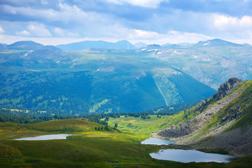Top view of  lakes in Altai mountains