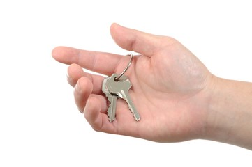 Business man holding key