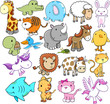 Cute Animal Design Elements Vector Set