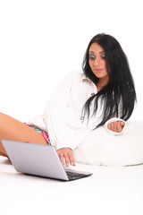 beautiful young girl with laptop