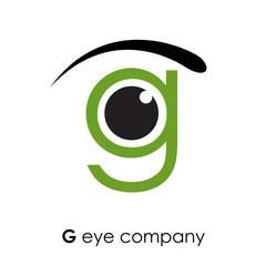 Logo letter G, with eye # Vector