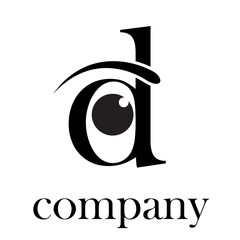 Logo letter D, with eye # Vector