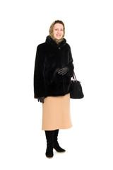 Woman in a mink coat