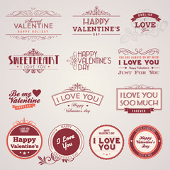Set of vintage vector Valentine's day labels