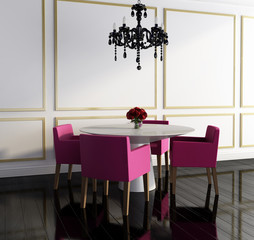 Luxury chic black white interior dining room with chandelier 2