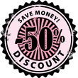 Stamp with 50% and the text discount, save money inside, vector