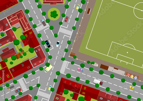 Tuinposter Op straat football field in town