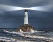 Leinwanddruck Bild - Lighthouse with a beam of light