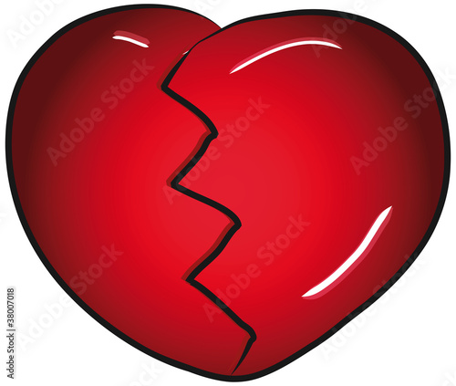 Broken red valentines day heart vector clip art