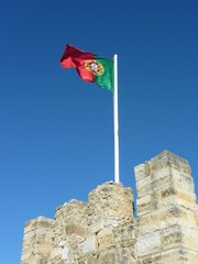 The Portuguese flag on the castle of Lisbon