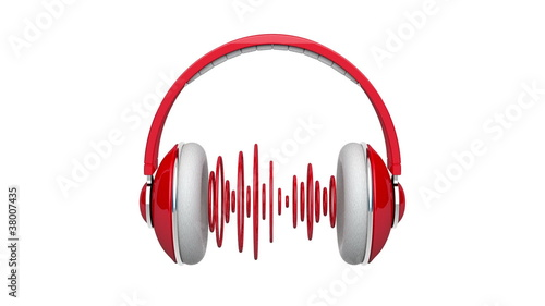 Headphones with red pulsating sound waves