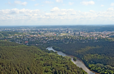 Birdseye view of Vilnius, Lithuania