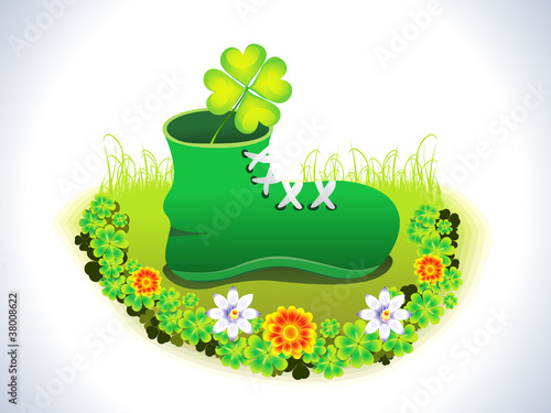 abstract green background with shoe vector illustraton