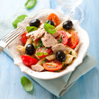 Pasta salad with tun and black olives