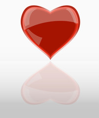 shiny red heart, w.mirroring, vector illustration