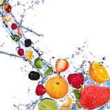 Fresh fruits falling in water splash on white background