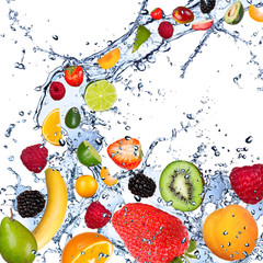 Fruits falling in water splash, isolated on white background