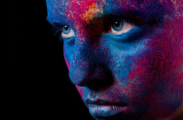 Portrait of woman with paint make-up